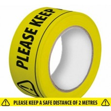 SAFETY TAPE - KEEP TWO METRES APART - Please click for Price Breaks