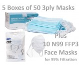 1 Pack of 10 FFP3 N99 Respiratory Face Masks and 5 Boxes of 50 3ply Masks