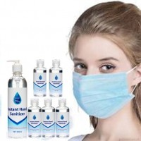 100 Medical 3 Layer Type IIR Face Masks plus FREE 500ml and 5 x100ml Sanitisers